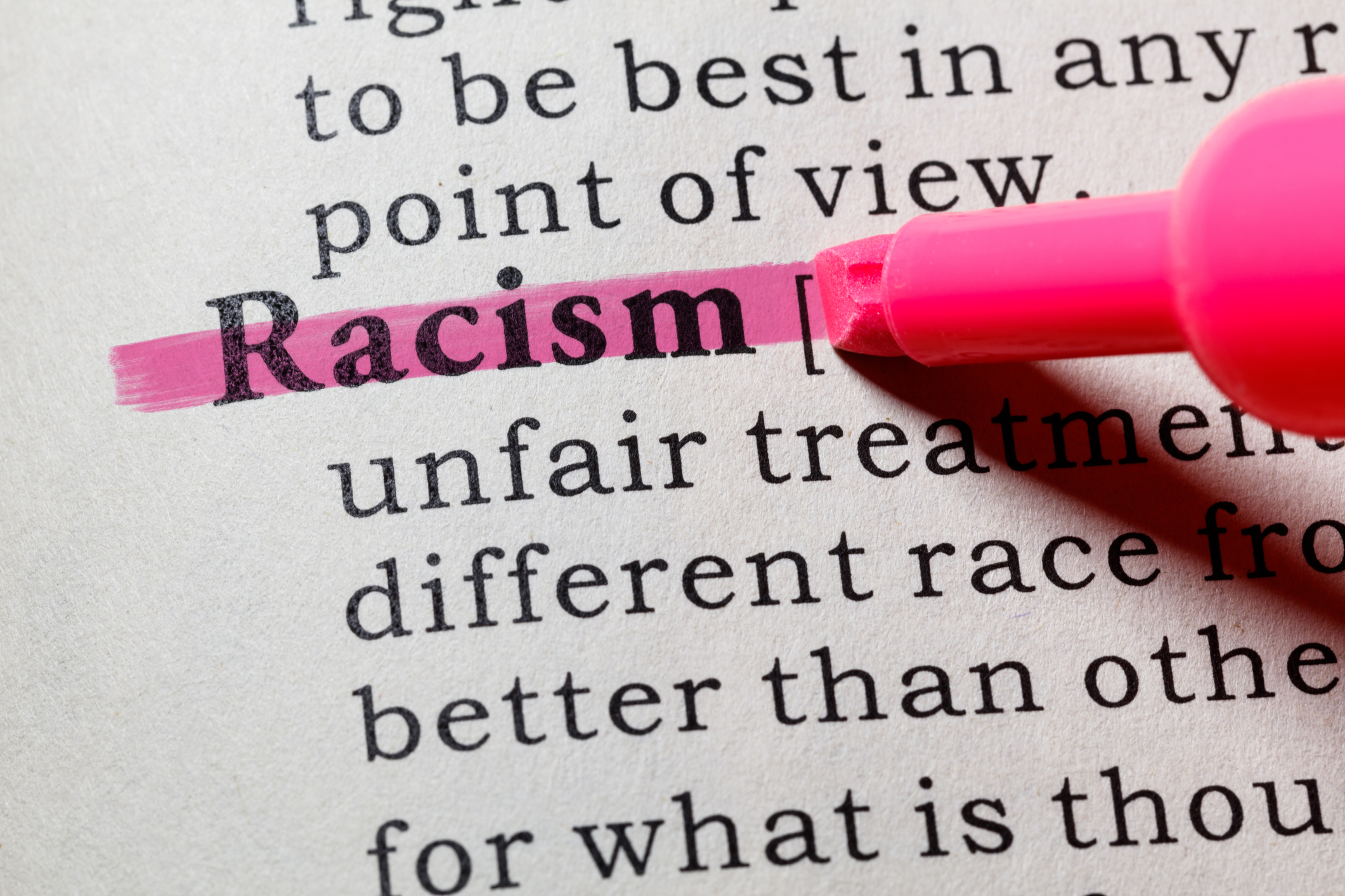 Definitive words in definition of racism. Image credit: iStock