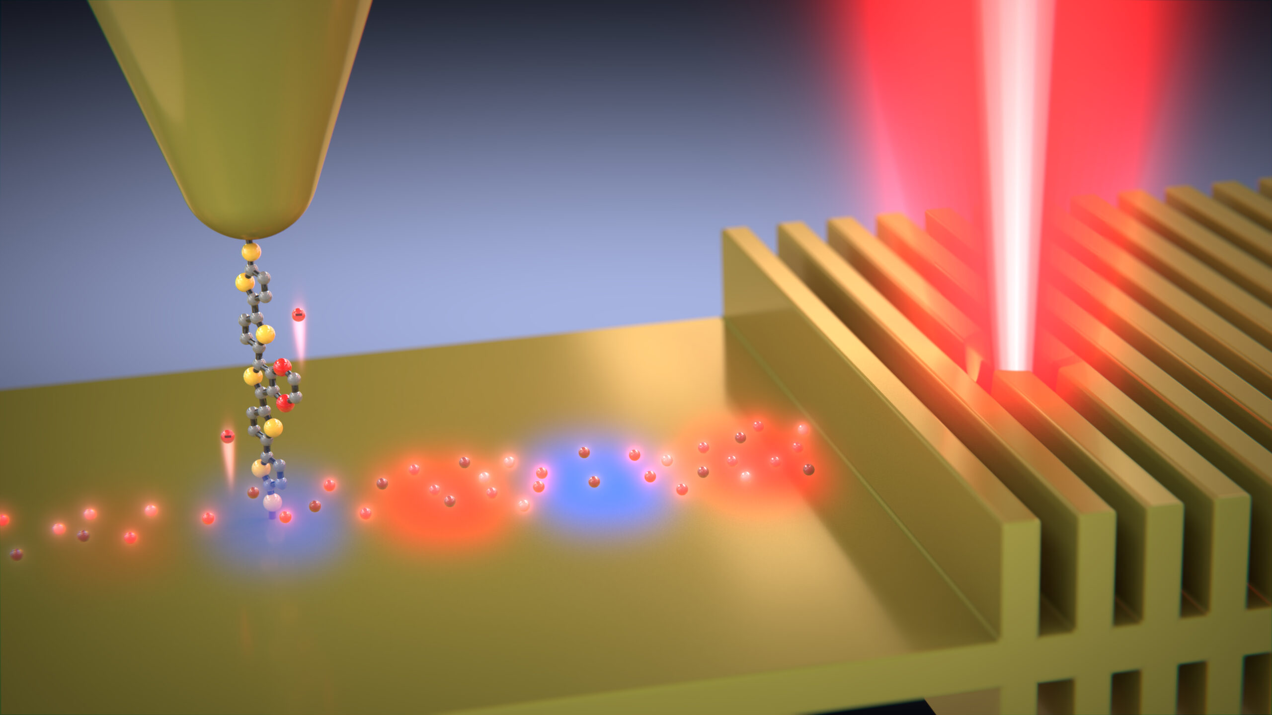 Hot electrons travel along the molecule into the probe tip. The molecule only allows electrons within a narrow range of energies to pass. Image credit: Enrique Shagun, Scixel.