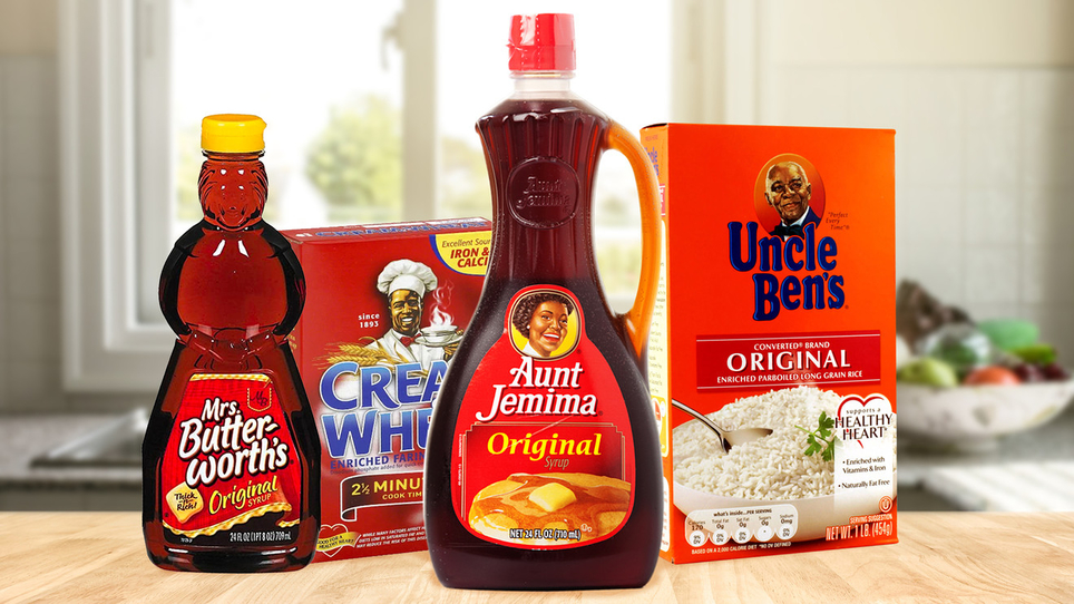 Common household products such as Aunt Jemima pancake mix, Mrs. Butterworth's syrup, Cream of Wheat and Uncle Ben's rice all feature racist imagery that dates back to the Jim Crow and slavery era. Image credit: GettyImages