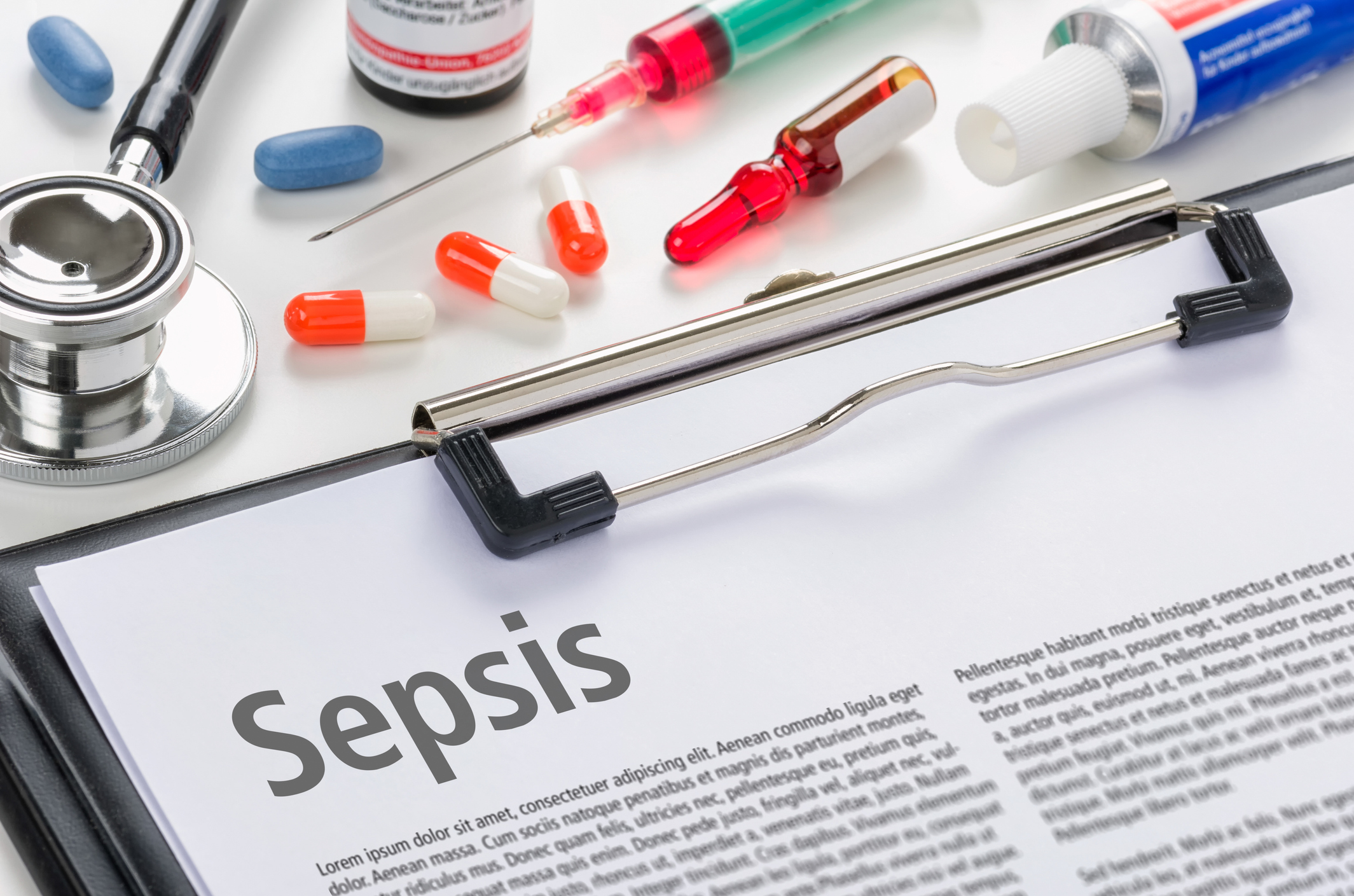 The diagnosis Sepsis written on a clipboard. Image credit: iStock