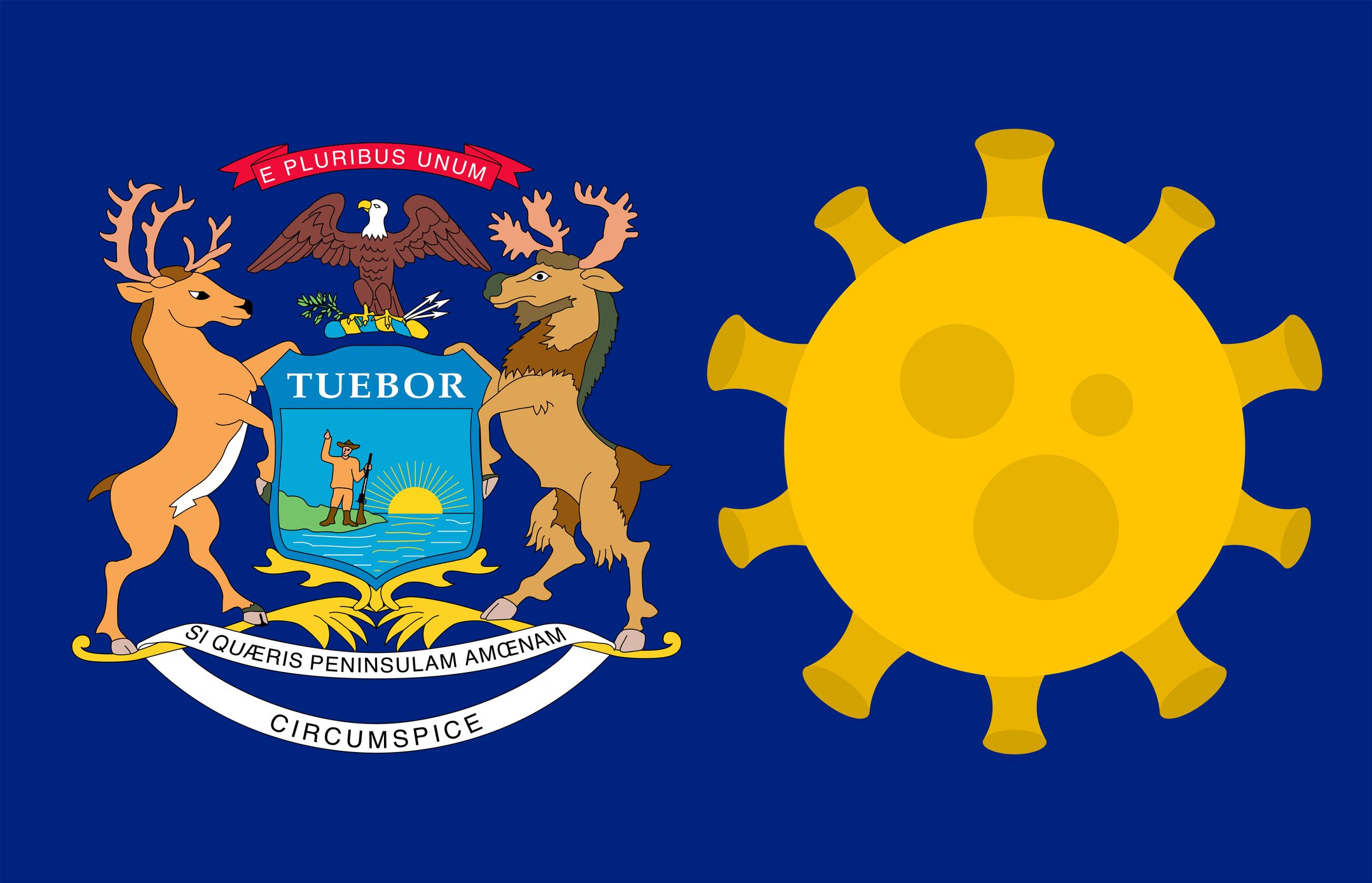 Flag of Michigan with Coronavirus cell icon. Image credit: iStock