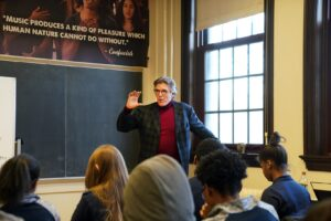 Hampson teaches students at the UM School at Marygrove.