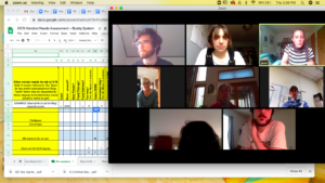 [LEFT TO RIGHT, TOP TO BOTTOM]: Stephen Hilton, Lindsay Calka, Jessi Averill, Lucy Miller, Susan Beckett, Glenn Gates, Shoshana Mandel, and Michael Corrigan meeting via zoom to determine Groundcover news vendor needs for the week (food, bill assistance, unemployment filing, etc) using the optiMize grant to fund this initiative. Image credit: Lindsay Calka