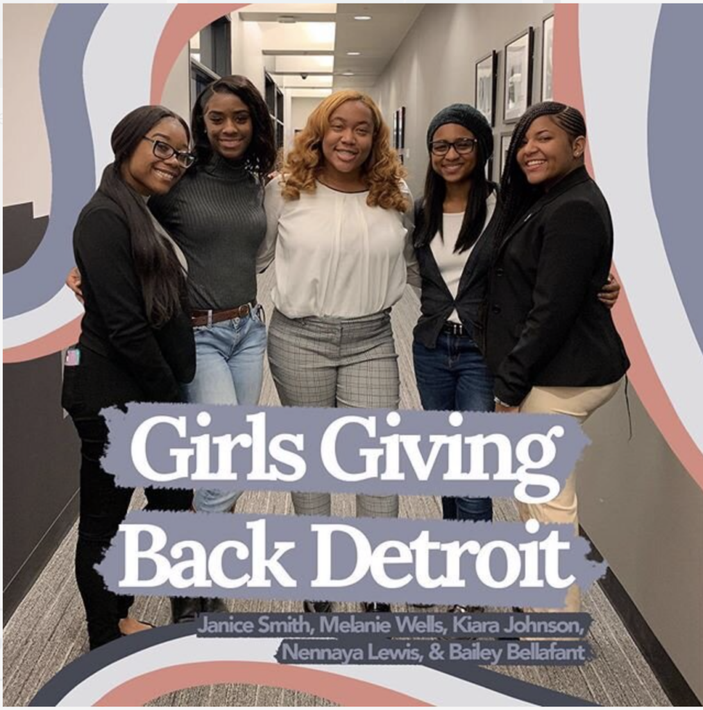 Girls Giving Back Detroit: Janice Smith, Melanie Wells, Kiara Johnson, Nennaya Lewis, & Bailey Bellafant.