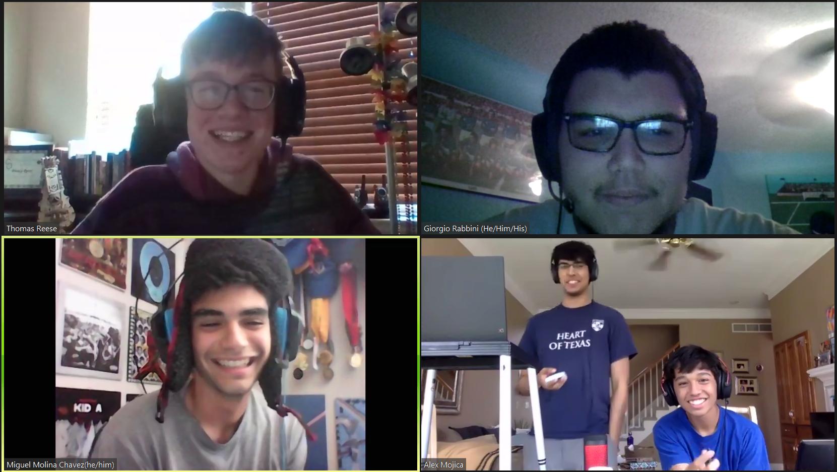 Thomas Reese, Giorgio Rabbini, Miguel Molina Chavez, Mayan Bhagavan, and Alex Mojica debate via Zoom video calls.