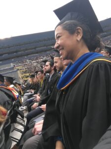 María Militzer received her doctorate degree during the 2019 commencement ceremony in the Big House. Image credit: María Militzer.