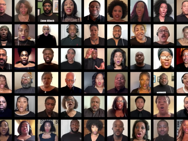 Collage of participants in virtual chorus.