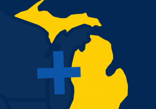 Icons of health and the state of Michigan. Image credit: U-M IHPI