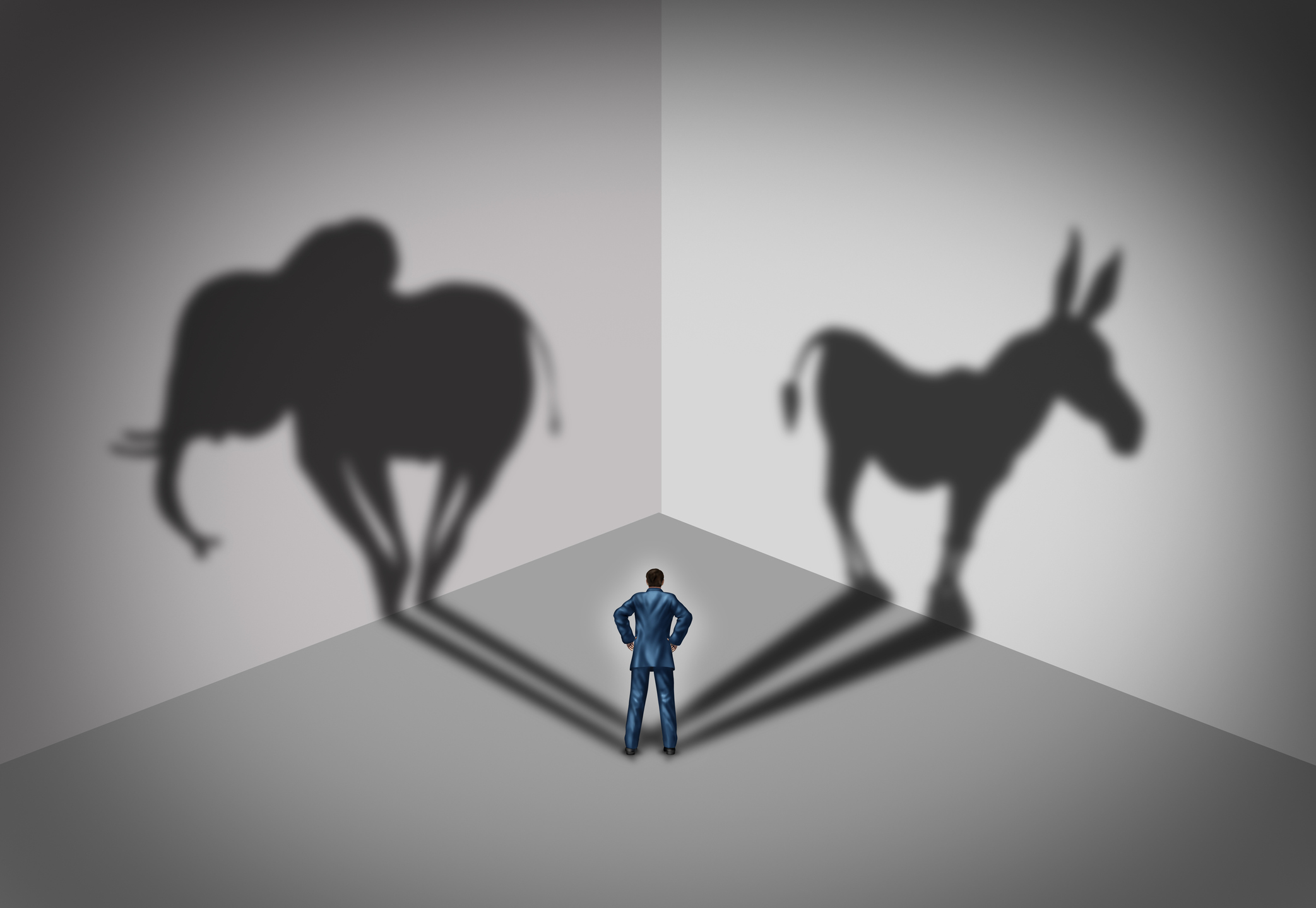 Republican and democrat voter concept as a symbol of an American election political identity campaign choice as two United States political parties shaped as an elephant and donkey in a 3D illustration style. Image credit: wildpixel