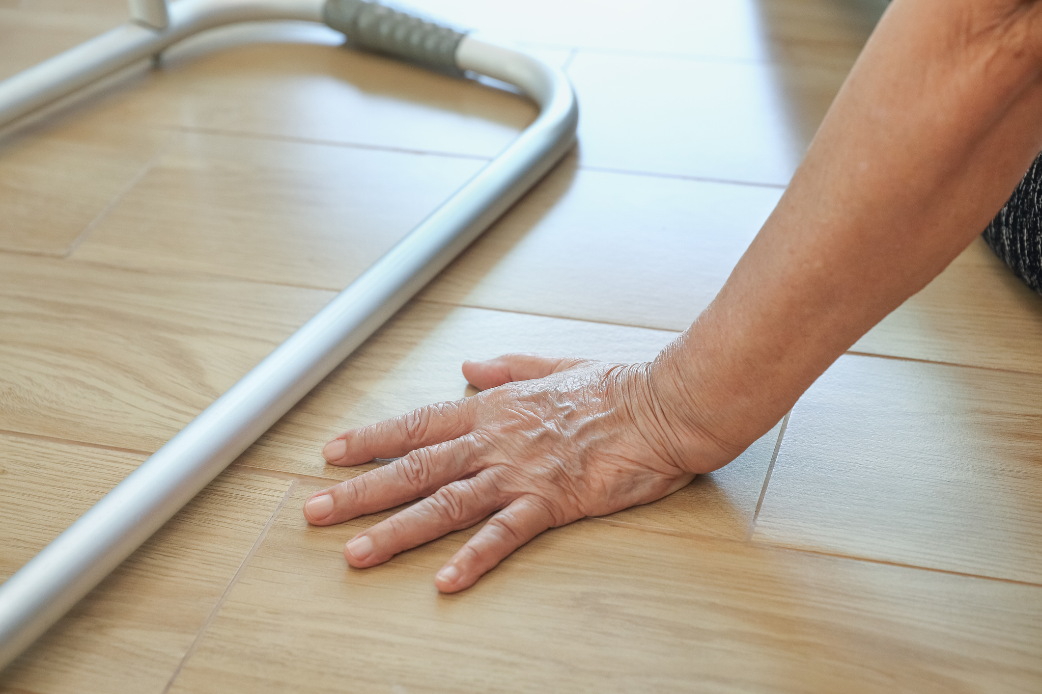 Elderly woman falling down at home. Image credit: iStock