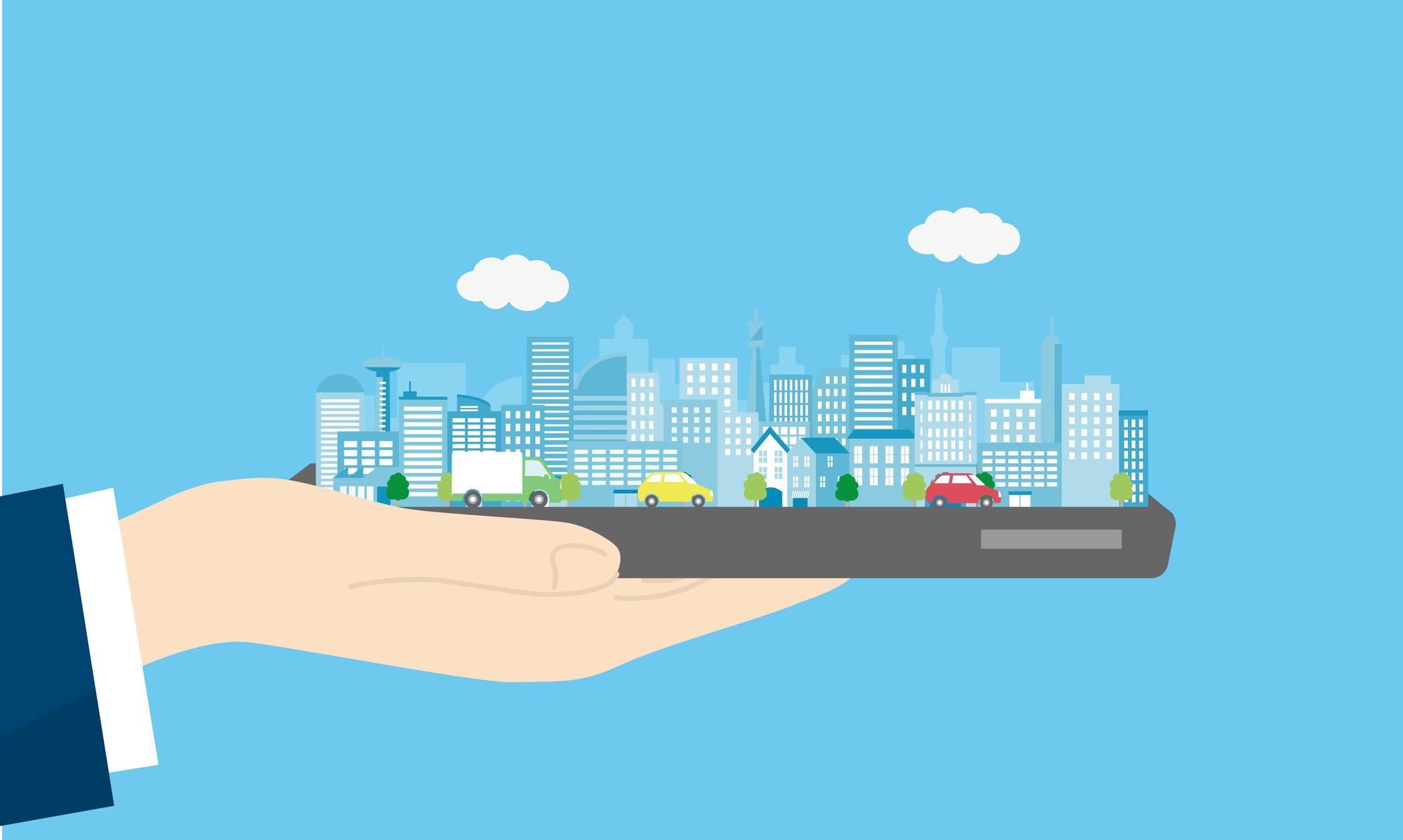 Illustration of city sharing information. Image credit: iStock
