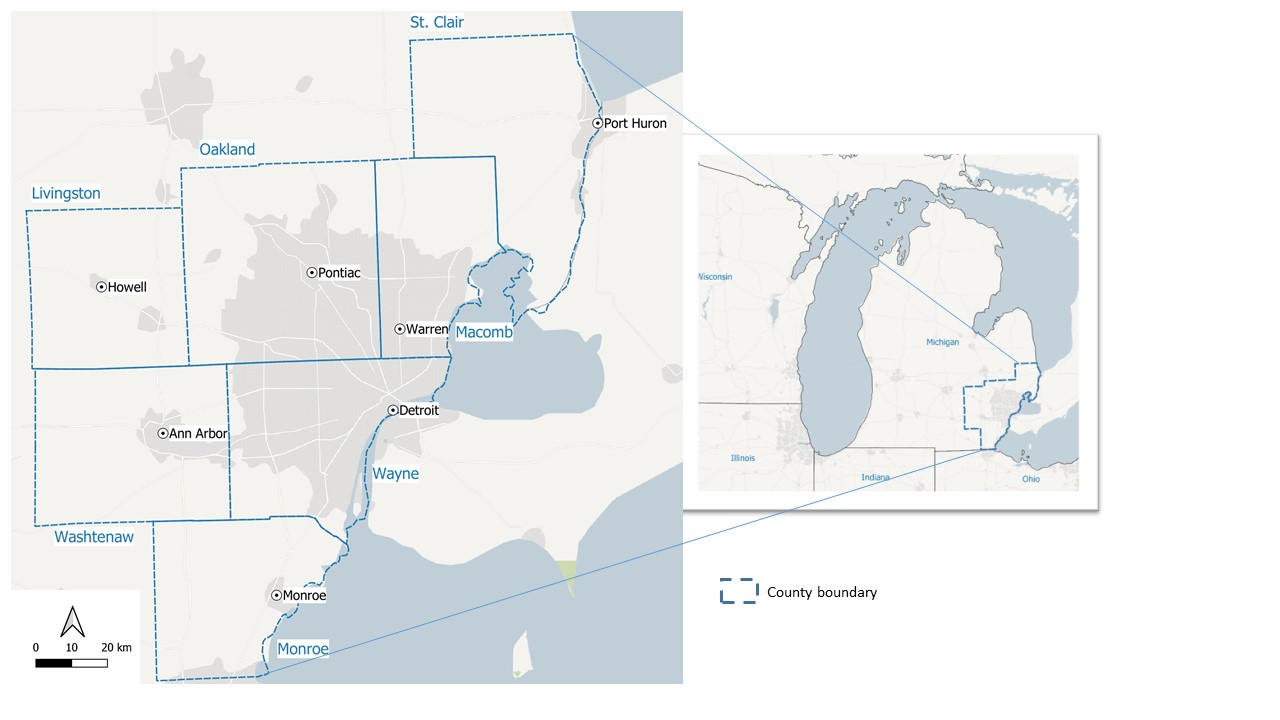 The seven-county Southeast Michigan study area used in a new University of Michigan analysis of the relationship between forested areas and urban sprawl. Image credit: Gounaridis et al. in Landscape Ecology, July 2020.