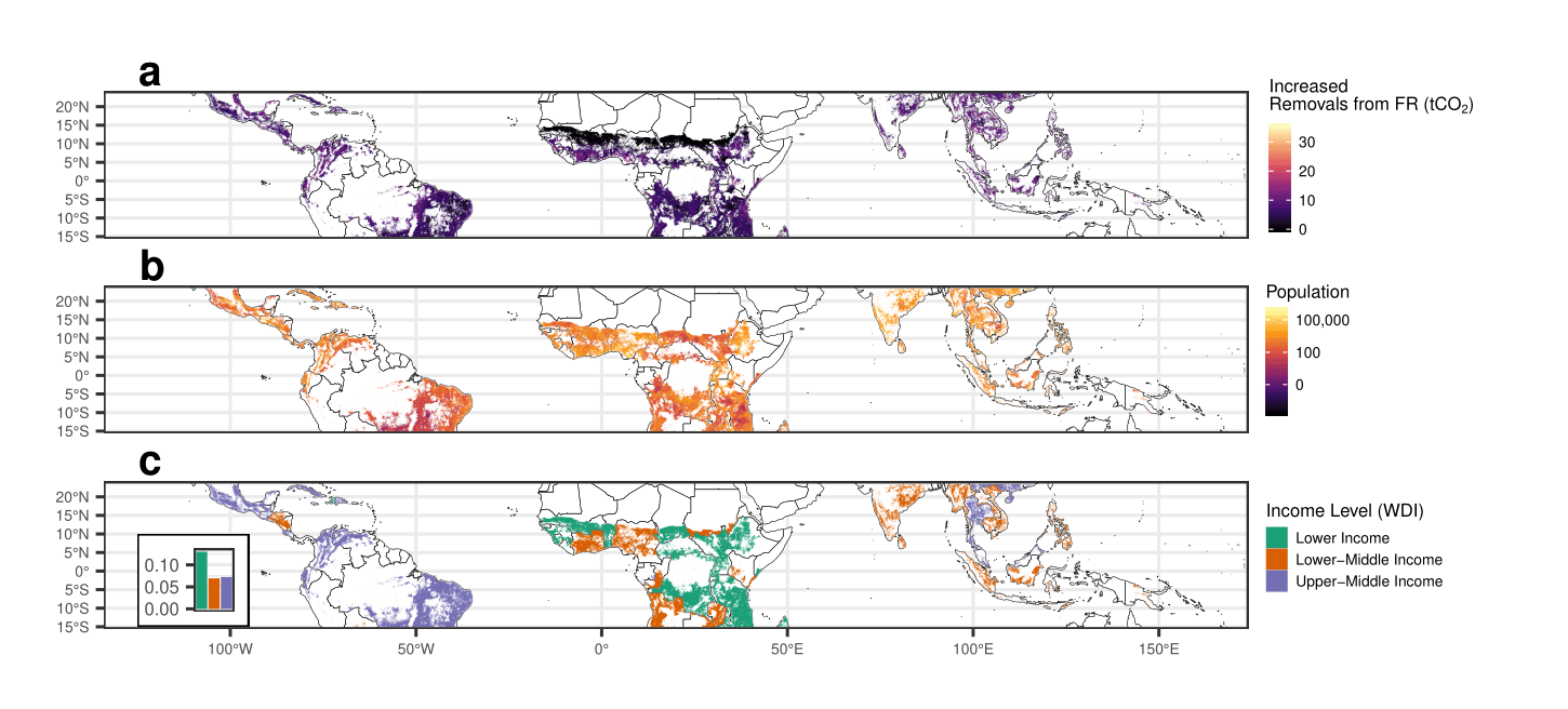 Three maps of forest restoration opportunity areas in the tropics at the equator.