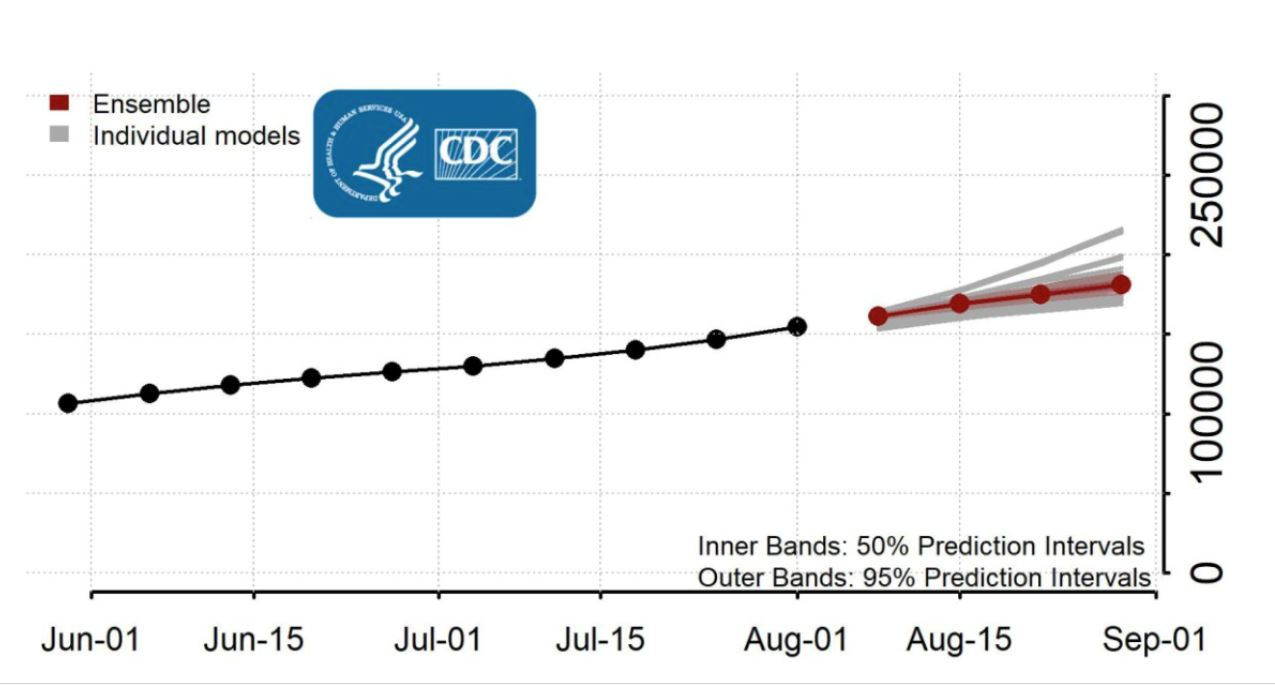 The CDC's weekly predictions are a product of an ensemble collected by the COVID-19 Forecast Hub.
