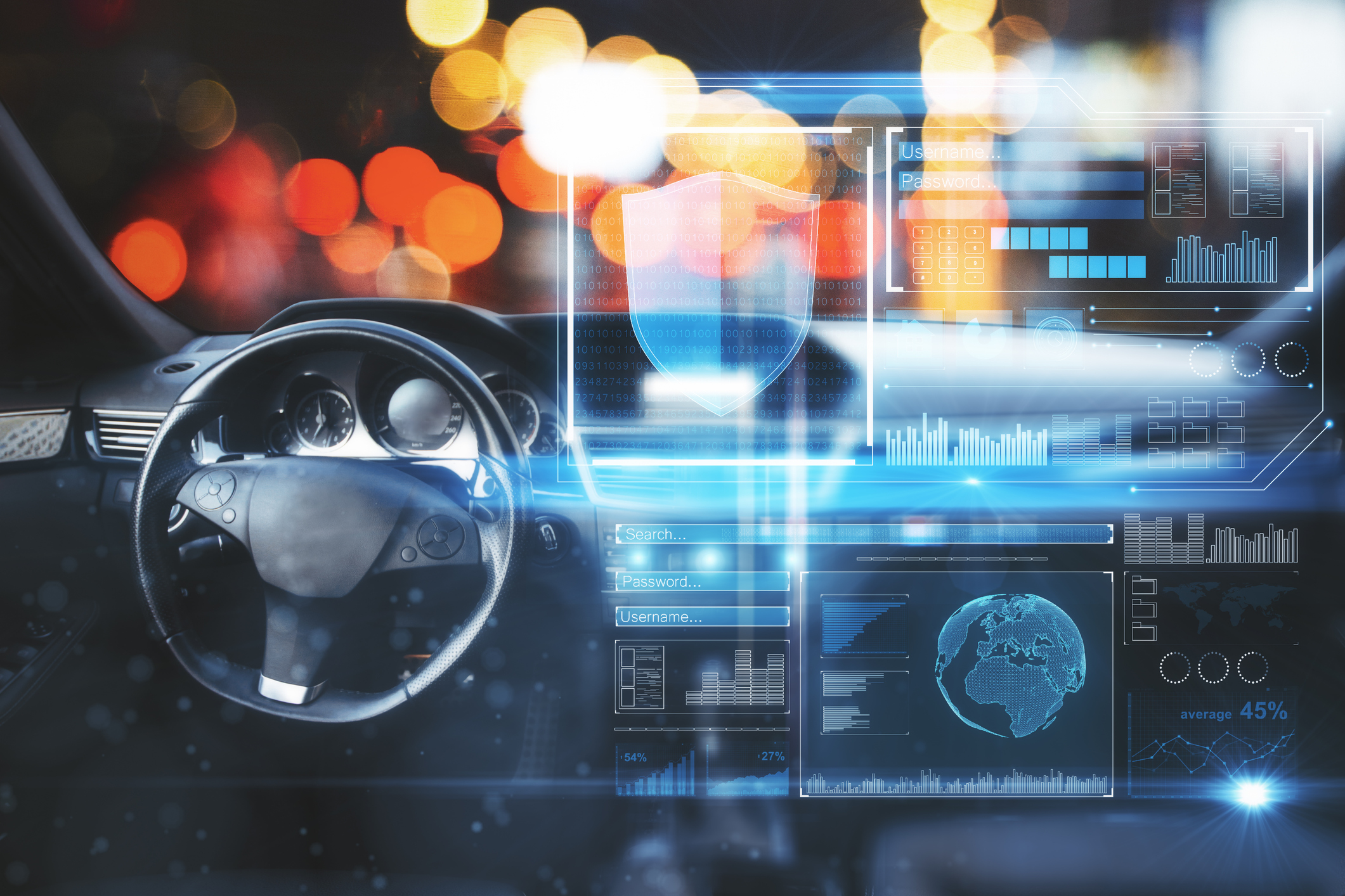 Car interior with digital interface on blurry bokeh background. Image credit: iStock