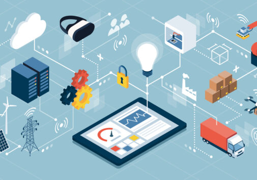Industrial internet of things, innovative manufacturing and smart industry: human machine interface app on a digital tablet. Image credit: iStock