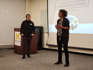 Afton Branche-Wilson, strategic projects manager for Poverty Solutions at U-M's Detroit Partnership on Economic Mobility and the lead researcher on Investing in Us, kicks off a focus group workshop held Nov. 8, 2019, at the U-M Detroit Center. Image credit: Lauren Slagter | Poverty Solutions