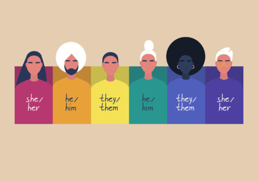 A rainbow frame with portraits of young people, wearing sweaters with their gender pronouns - she, he, them. Image credit: iStock