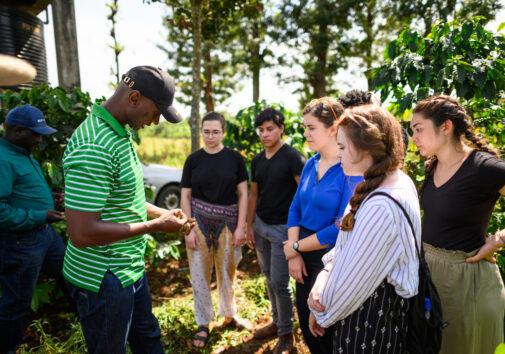 U-M Engineering students visit DeMan Coffee plantation in Nkubu, Kenya. Image credit: Austin Thomason, Michigan Photography