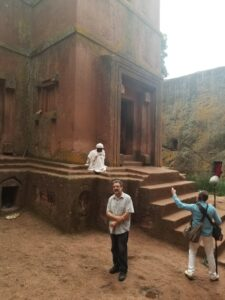 "Ron Eglash, a professor at the University of Michigan School of Information and Penny W. Stamps School of Art and Design, discussed fractal patterns at a 1,000 year old Ethiopian church during the filming of ""Enslaved."" Image credit: Ron Eglash."