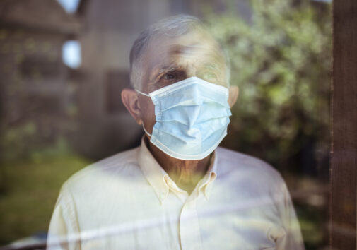 Senior man stays home because of COVID. Image credit: iStock