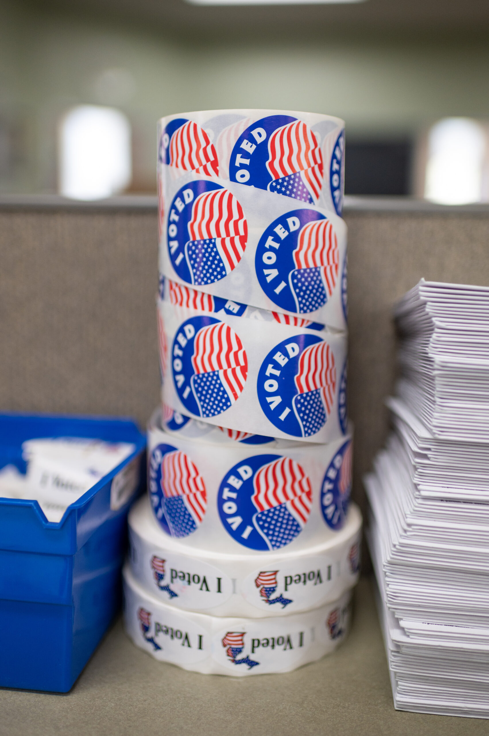 Roll of 'I Voted' stickers at the Ferndale's clerk office. Image credit: Eric Bronson, Michigan Photography