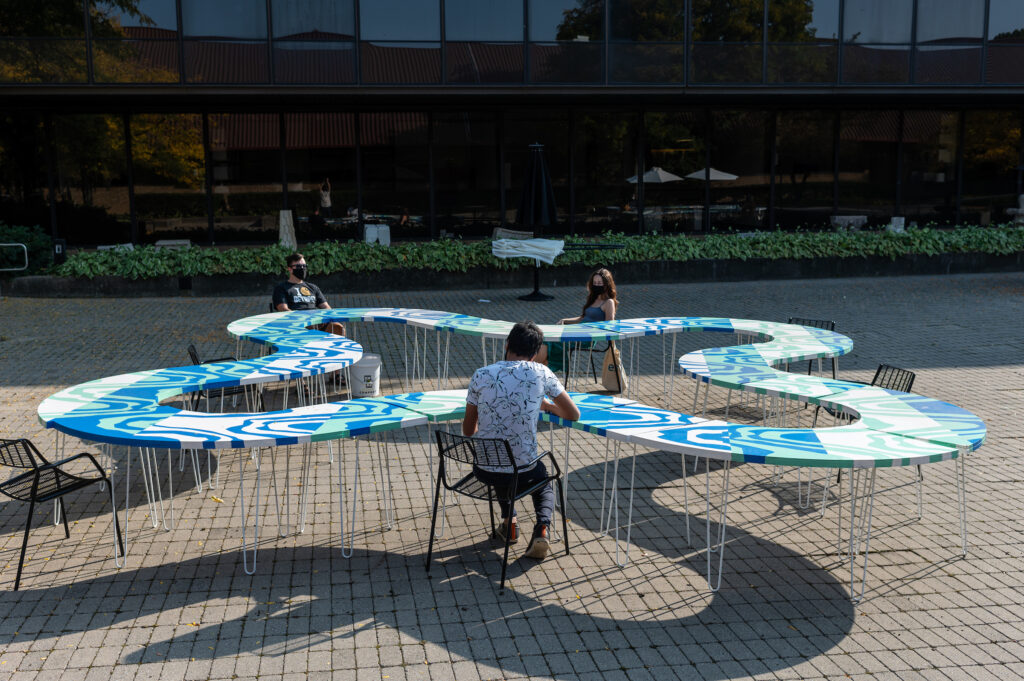 """Faculty, students and staff at the Taubman College of Architecture and Urban Planning created a """"socially distanced"""" courtyard installation for the U-M Art and Architecture building. Image credit: Eric Bronson, Michigan Photography"""