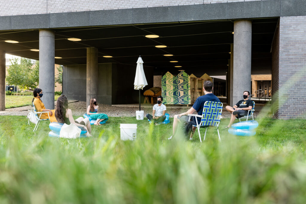 """A space for the undercroft of the building, affectionately called """"the beach."""" Image credit: Eric Bronson, Michigan Photography"""