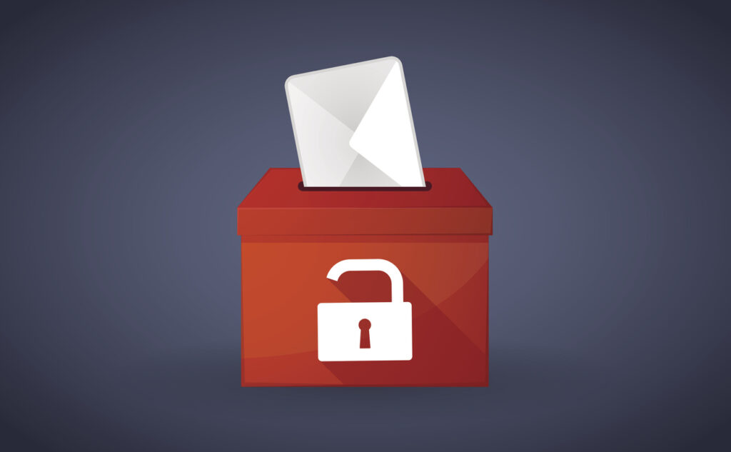 Illustration of a ballot box with a lock. Image credit: iStock