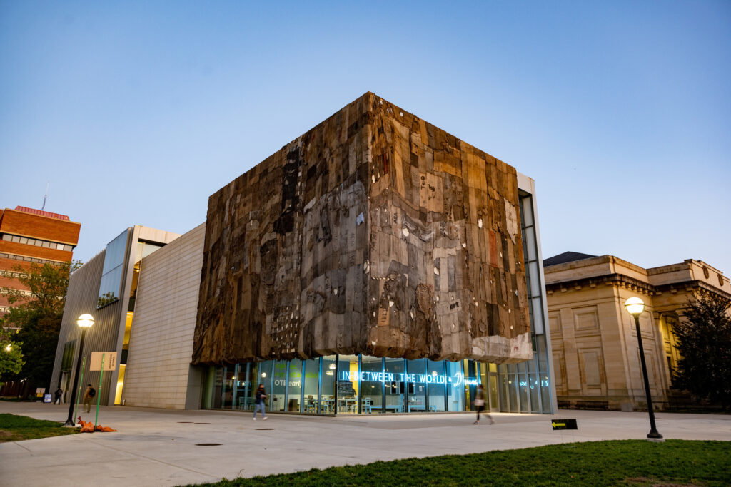 Ibrahim Mahama's installation at the University of Michigan Institute for the Humanities Gallery includes elements of audio and video and can be viewed from the sidewalk. Image credit: Eric Bronson, Michigan Photography