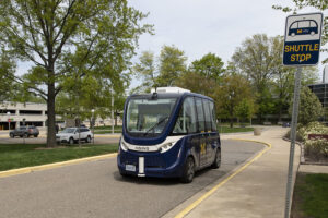 The Mcity Driverless Shuttle makes two stops on the University of Michigan's North Campus on it's one-mile route. Image credit: Roger Hart, Michigan Photography
