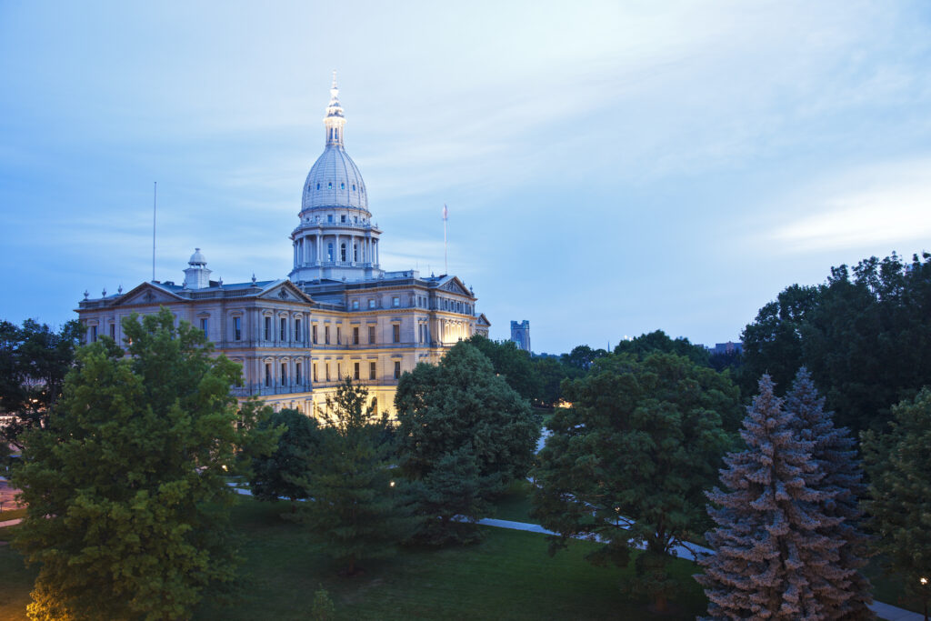 Lansing, Michigan - elevated view of State Capitol Building. Image credit: iStock