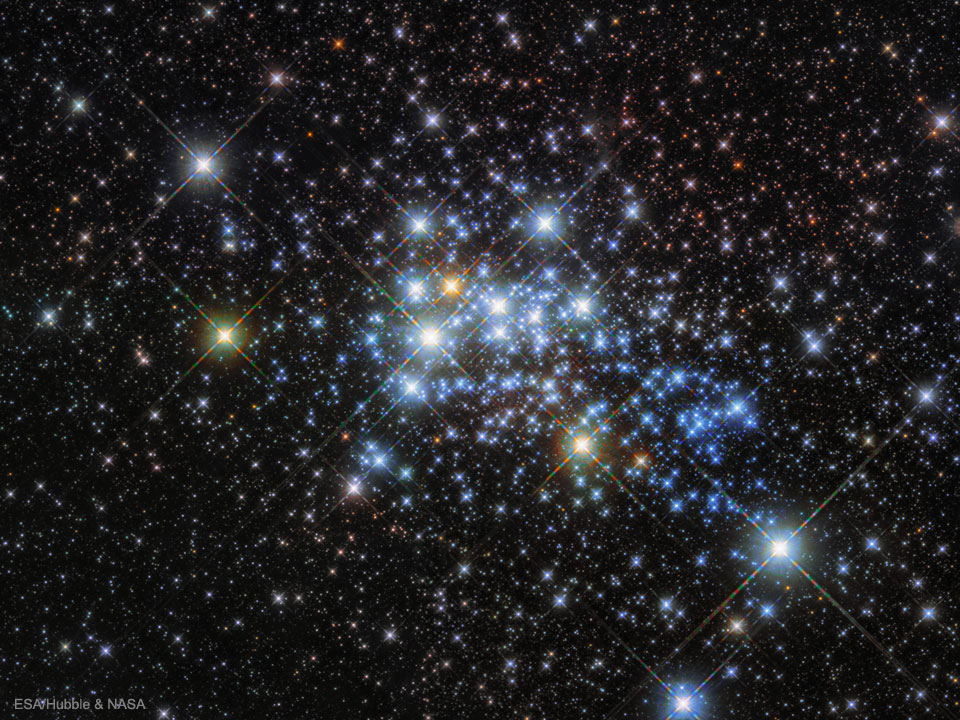 Image of star cluster Westerlund 1 which is home to some of the largest and most massive stars known. Image Credit: ESA/Hubble & NASA