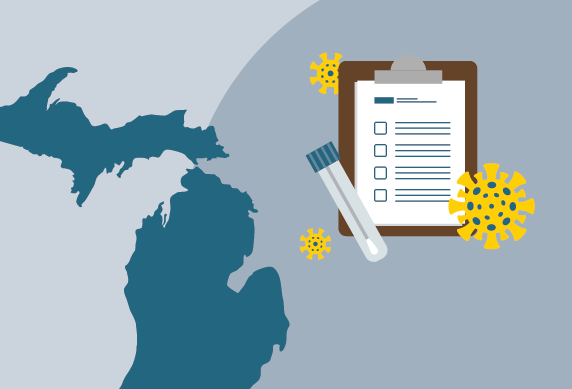 Concept illustration of Michigan and COVID app