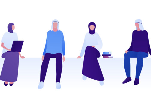 Muslim college students illustration. Image credit: iStock