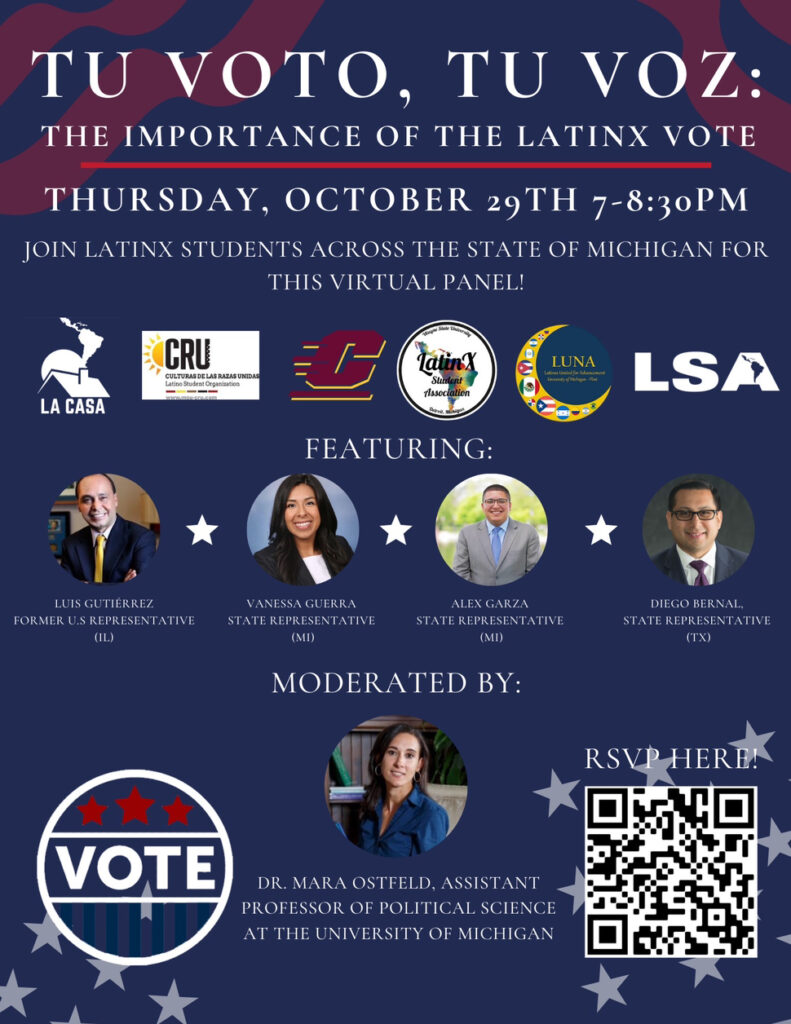 Virtual panel: The importance of the Latinx vote event flyer