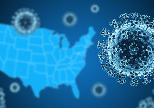 Coronavirus with US Map in background. Image credit: iStock