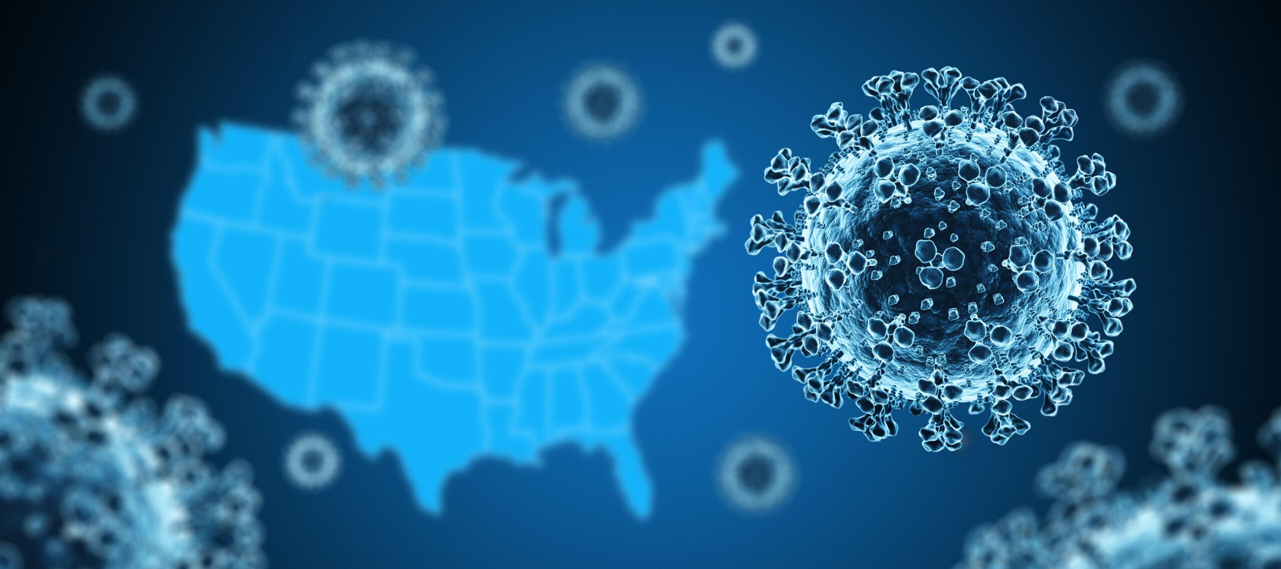 Coronavirus with US Map in background. Image credit: iStock