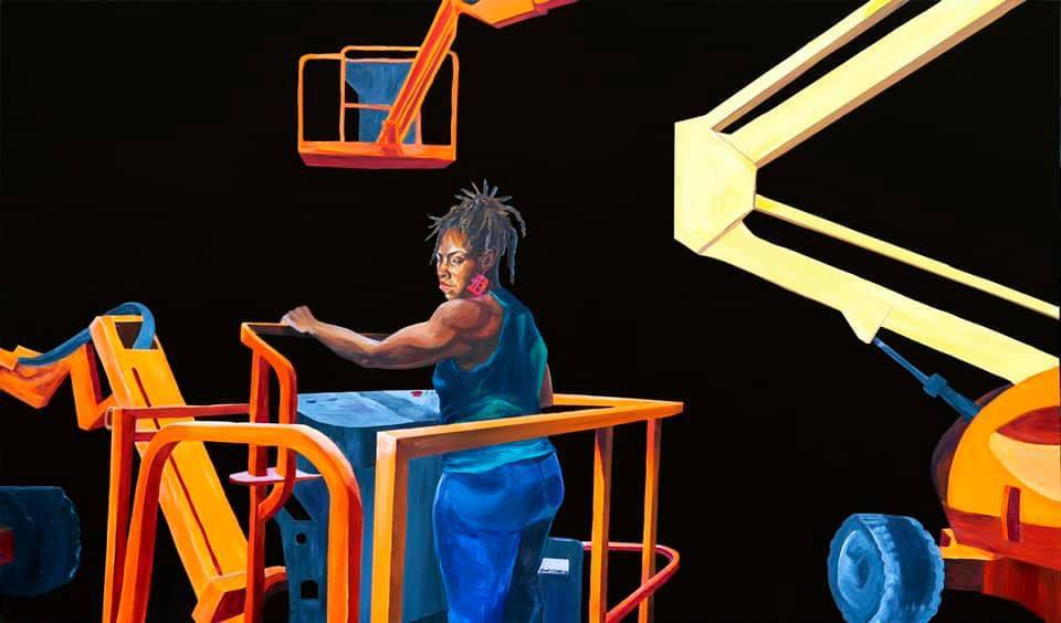 """Articulating Boom Shakalacka"" by Sydney James (a self portrait), is part of ""Watch Me Work — Portraits of Self,"" an exhibition now on view on the exterior of the University of Michigan Institute for the Humanities Gallery. Image credit: Anthony Hughes"
