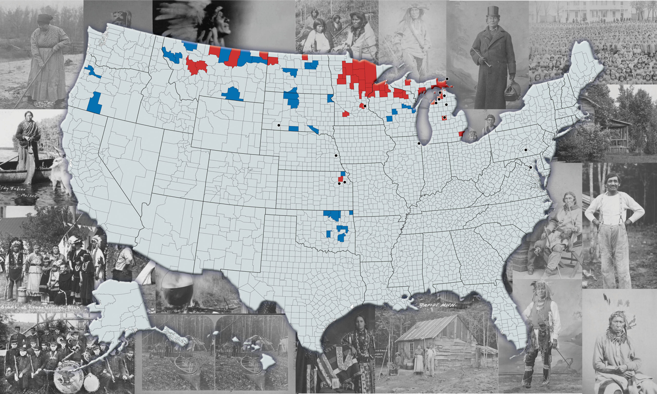 Map with photography of midwest native people tribes.