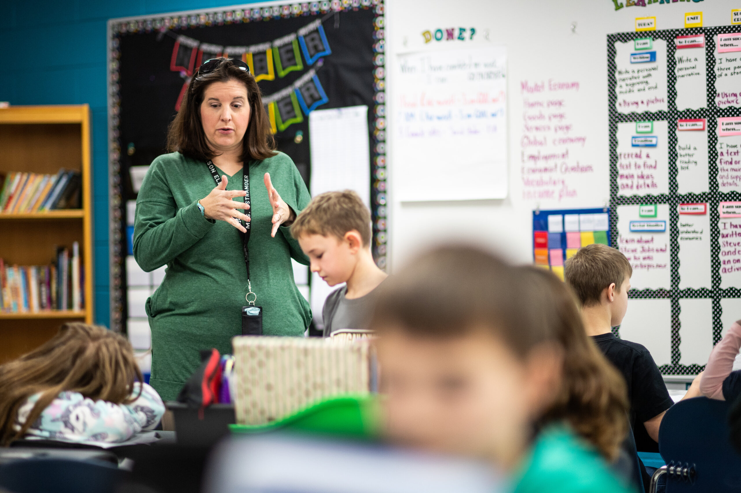 Christina Ostrander, a teacher at Mason Elementary School, said the program integrated seamlessly into what they were already doing in the classroom. She participated in the pilot last winter and the program has operated virtually since spring. Image credit: Eric Bronson / Michigan Photography