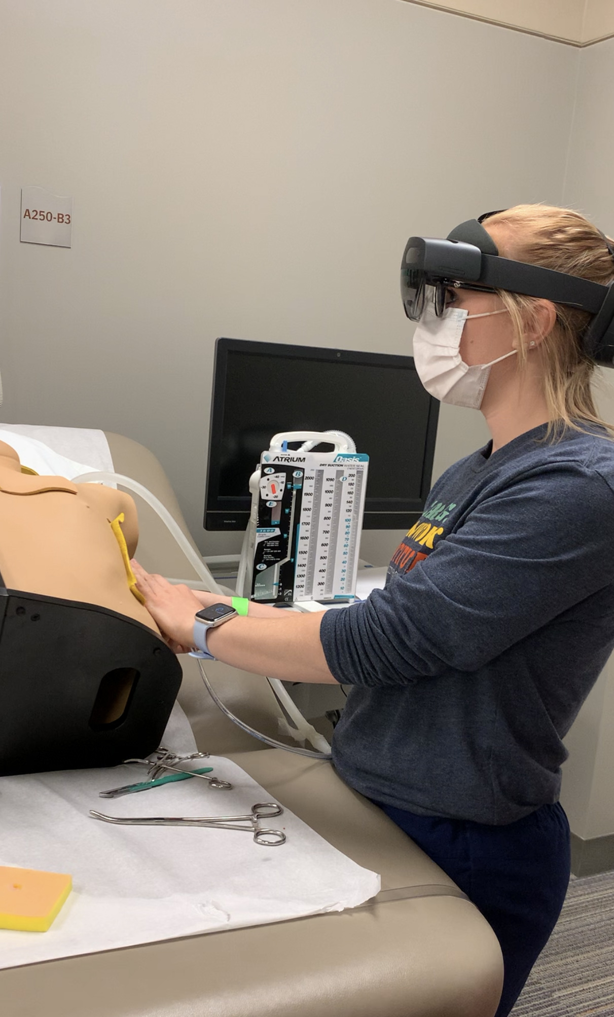A nursing student practicing a catheterization procedure using the HoloLens2. Image credit: U-M School of Nursing