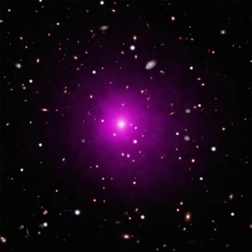 Abell 2261 appears pink against the blackness of space