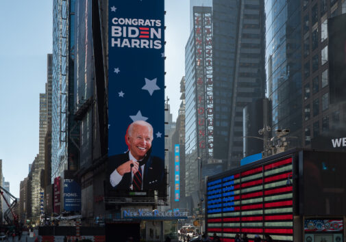 Times Square tribute to president elect Joe Biden. Image credit: iStock