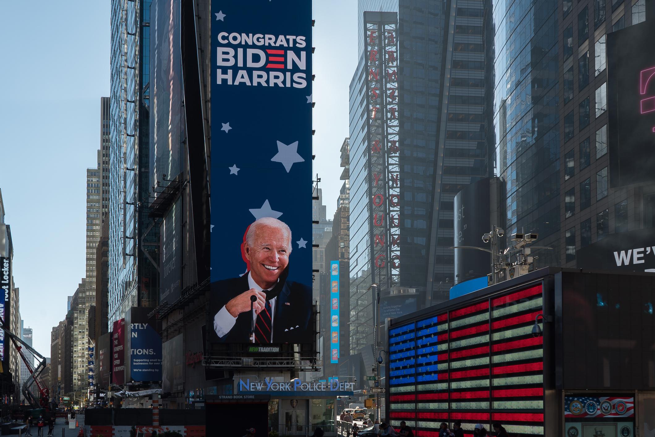 Times Square tribute to president elect Joe Biden. Image credit: iStock