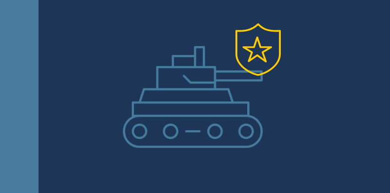tank and police badge graphic.