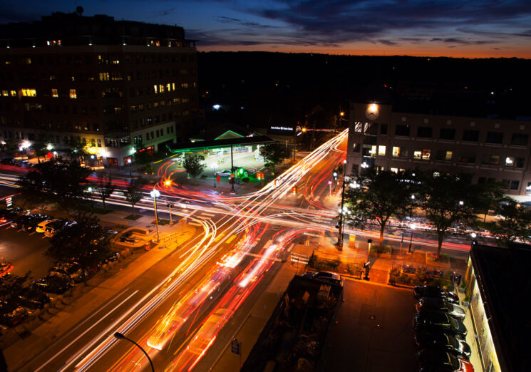 An Ann Arbor intersection. Image credit: Marcin Szczepanski, Michigan Engineering