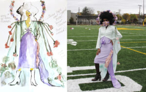 "Ayana Evans' sketch of costume worn by vocalist and University of Michigan School of Music, Theatre & Dance student Daelynn Jorif. Students in the University of Michigan's Stamps School of Art & Design created the costumes for Evans' performance as part of professor Rebakah Modrak's ""Dressing Up and Down"" course."