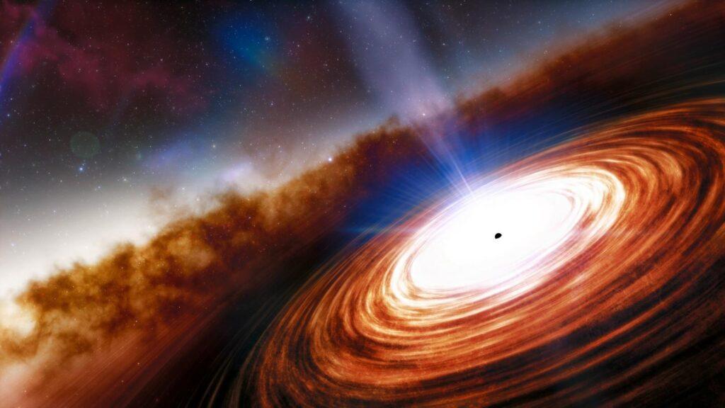 Artist rendering of a quasar. Image credit: NOIRLab/NSF/AURA/J. da Silva