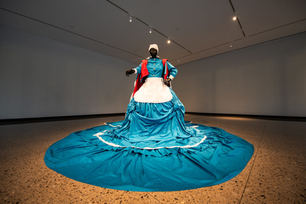 Mary Sibande, Sophie/Elsie, 2009, lifesize fiberglass mannequin and cotton textile. Museum purchase made possible by Joseph and Annette Alle. Image credit: Austin Thomason, Michigan Photography